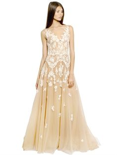 ZUHAIR MURAD - FLOWER EMBELLISHED SILK TULLE LONG DRESS - LUISAVIAROMA - LUXURY SHOPPING WORLDWIDE SHIPPING - FLORENCE