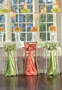 Repurpose picture frames to fasten sashes to chair backs!  #timelesstreasure