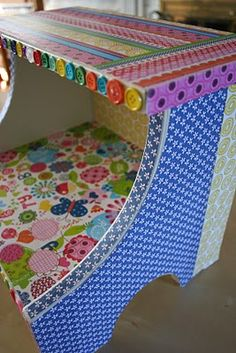 Step Stool Makeover. I have a feeling my version of this wouldn't be as cute...oh well, worth a shot.