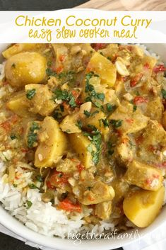 All the flavors of classic coconut curry chicken but in a easy dump-it-and-forget-about-it slow cooker chicken curry recipe! Perfectly spiced, creamy coconut, tender potatoes & chicken all served over some fragrant Jasmine rice. A simple & delicious easy weeknight family dinner that's mild enough for kids to enjoy.