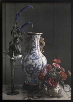 """Still Life with Ornate Chinese Vase,"" Frederick S. Dellenbaugh, 1910. Autochrome."