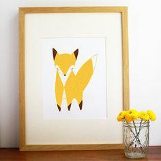 May Little Fox Illustration Fox Art Print Nursery Art by Gingiber, $23.00