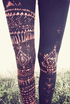 Tribal Leggins Handpainted Par Siamicwear Sur Etsy