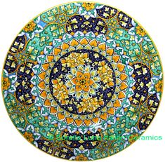 Ceramic Majolica Plate G06 GEO Green Yellow Blue 47cm - See more at: http://italian-ceramics-art.com/elegant-dishes-gifts/Ceramic-Majolica-Plate-G06-GEO-Green-Yellow-Blue-47cm.html#sthash.aDOxvZTC.dpuf