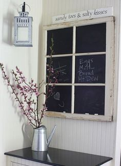 had to add this, I loved it. DIY chalkboard paint ideas - Chalkboard Paint on Old Window Panes - Click Pic for 29 Ideas
