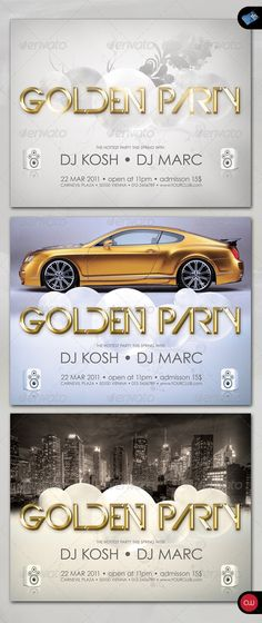 Modern Party Flyer - Vol.4  #GraphicRiver          Beautiful Poster & Flyer Set, there are 2 versions included, one if you don't want to use pictures or wallpaper and one version to place your own images. Enjoy! FEATURES   300 DPI, CMYK  Text, colors and Image are easy changeable  2 Versions for use with and without picture  Print ready   DIMENSION   11in x 8.5in  0.25in bleed   FONT USED   Century Gothic (download link provided)  Devil Breeze (download link provided)   IMAGES   The Images…