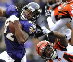 NFL FOOTBALL DANGERS OF LONG BRAIDED HAIR - BENGALS PLAYS GRABS HANDFUL OF RAVENS  PLAYERS HAIR! OUCH!