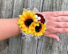 Sunflower Corsage, Burgundy Sunflower Corsage, Wrist Corsage, Pin Corsage – Bouquet Of Sunflowers Sunflower Corsage, Sunflower Bridesmaid Bouquet, Sunflower Boutonniere, Rose Corsage, Sunflower Bouquets, Corsage Wedding, Wedding Bouquets, Wedding Boutonniere, Bridesmaid Bouquets