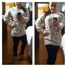 Gray and cream sweater Gray and cream sweater with slight sparkle material has a sexy open detail back Sweaters Crew & Scoop Necks