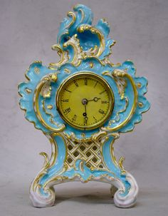 Fine  rare English Coalbrookdale porcelain clock in excellent condition. 8 day English fusee movement signed  numbered by the renowned maker Vulliamy.Ht. 28 cms Circa 1830