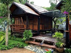 Discover recipes, home ideas, style inspiration and other ideas to try. Bamboo House Design, Tropical House Design, Tropical Houses, Wooden House Design, Tyni House, Tiny House Cabin, Bali, Bg Design, Design Ideas