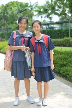 WGS Woodgrove Secondary School Upper Sec Lower Sec PE Attire Sailormoon uniform Singapore SG College Uniform, School Uniform Skirts, School Uniform Fashion, School Uniforms, Singapore School, Pant Shirt, Girls Uniforms