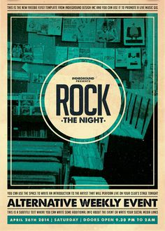 """Free Flyer: Indie Rock Party Template - http://www.freepsdflyer.com/free-flyer-indie-rock-party-template/ """"Rock The Night"""" - Free Flyer: Indie Rock Party Template – This flyer was designed to promote a Indie / Alternative / Rock music event, such as a gig, concert, festival, party or weekly event in a music club and other kind of special evenings. #Club, #Electro, #Indie, #IndieRock, #Minimal, #Night, #Party, #Retro, #Rock, #RockParty, #School"""