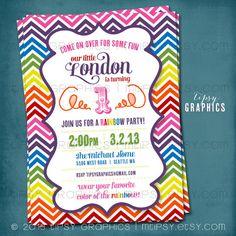 Rainbow Chevron Birthday Party Invitation Super Fun & by MTipsy, $16.00
