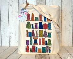 Sewing Thread Fair Trade Tote Bag Reusable Shopper Bag Cotton Tote Shopping Bag Eco Tote Bag by ceridwenDESIGN http://ift.tt/1N2TRyz