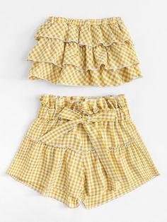 Tiered Tube Top With Ruffle Waist Skirt -SheIn(Sheinside)