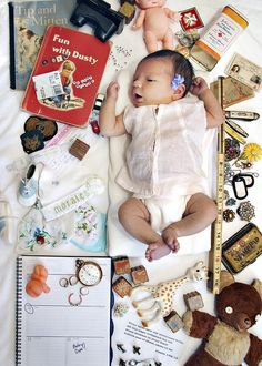 I spy baby announcement - so clever!  Find her birth date, birth weight, etc in all the artifacts!