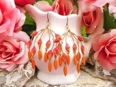 assemblage earrings fall branch orange jewels by lilyofthevally