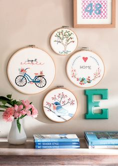 Ideas For Embroidery Hoop Crafts Ideas Embroidery Hoop Crafts, Modern Embroidery, Hand Embroidery Patterns, Ribbon Embroidery, Cross Stitch Embroidery, Cross Stitch Patterns, Embroidery Letters, Embroidery Kits, Cross Stitching