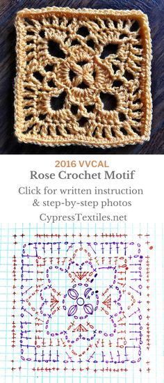 Crochet Motif - Sarah and Rose Squares - cypress Granny Square Crochet Pattern, Crochet Diagram, Crochet Squares, Crochet Chart, Crochet Granny, Crochet Blanket Patterns, Crochet Motif, Crochet Stitches, Free Crochet