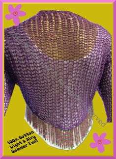 Summer Shrug - Lightweight Open Stitch Shrug Handcrafted 100% Cotton Deep Purple With Beaded Fringe. $60.00, via Etsy.