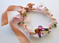 Butterfly floral wreath for Flower Girls, birthdays, fairies and ballerinas.