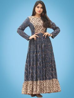 31723ce522 Nazmin - Hand Block Printed Long Cotton Dress With Back Knots ...