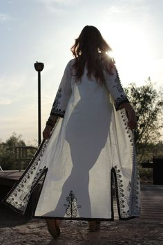 Black White Eastern Embroidered Full Length Coat by alyxmarie, $84.00