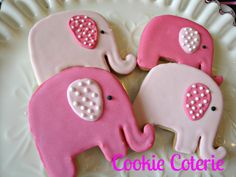 Baby Elephants Decorated Sugar Cookies Cookie by CookieCoterie