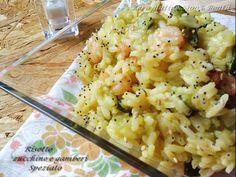 Risotto zucchine e gamberetti (speziato)