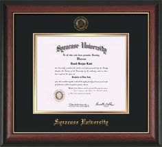 Syracuse University Diploma frame with premium hardwood moulding and official Syracuse seal and name embossing - black on gold mat. All archival materials, including UV glass. A great graduation gift!