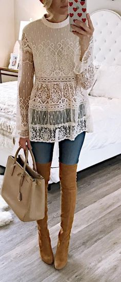 summer outfits White Lace Top + Skinny Jeans + Brown Leather OTK Boots