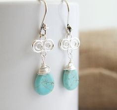 Turquoise Earrings with Sterling Silver Connectors by Jewels2Luv, $34.50