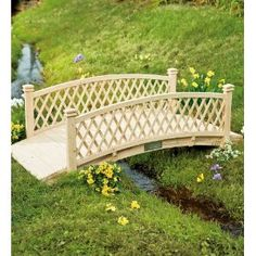 Curved Canadian Cedar Bridge with Railings and Latticework Sides Patio, Lawn & Garden Pergola Garden, Diy Pergola, Lawn And Garden, Garden Paths, Backyard Landscaping, Garden Pond, Pond Bridge, Garden Bridge, Outdoor Projects