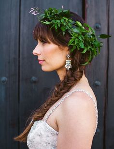 Stylish Los Angeles Carondelet House Wedding: Emily + Brett. LA flower crown bride. Via: GreenWeddingshoes.com