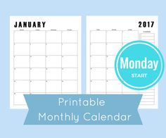 Each month fits on two pages giving you plenty of room to write your important events and reminders. Printable 2017 monthly calendar.  Includes 12 months: January 2017- December 2017 Size: 8.5 x 11 (Standard Paper Size) Digital File: PDF file available for download after purchase. Print as many copies as you want! Use: As a standalone piece or add to your arc notebook or any discbound planner system.  {Other sizes are also available in my shop}…