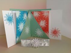 Holder for Notecards using Stampin'Up! Grateful Bunch Stampset, White Embossing Powder and Heat Tool.