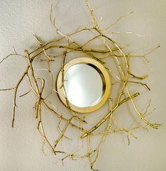 gold twig mirror DIY tutorial spraypaint hirondelle rustique