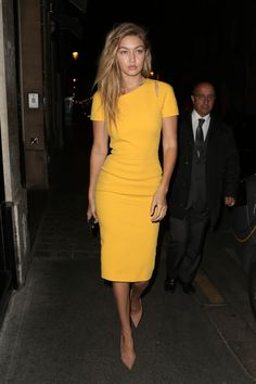 Gigi looked amazing in this understated yet stunning yellow dress. Find one just like it on ShopStyle.