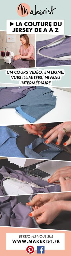 Coudre les hauts en jersey - Time Tutorial and Ideas Coin Couture, Sewing Stitches, Sewing Patterns, Sewing Clothes, Diy Clothes, Sewing Hacks, Sewing Tutorials, Sewing Tips, Couture Sewing Techniques