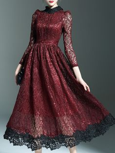 Burgundy Crochet Hollow Out Midi Lace Dress