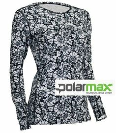 $62.45 awesome POLARMAX LONG UNDERWEAR - 4 WAY STRETCH - WOMENS - SHIRT - BLACK/WHITE LARGE