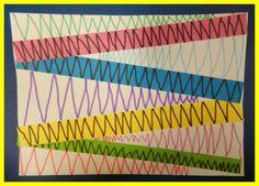 Voici un petit travail de graphisme sur les lignes brisées, qui peuvent servir pour illustrer les dents de crocodiles. Pour ma part, c'étaient plutôt des montagnes. (moyenne setion/mars2012) chaque enfant a choisi 4 bandes de couleur sur lesquelles ,...
