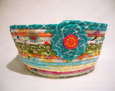 Items similar to Peppermint Twist Coiled Fabric Bowl, Coiled Fabric Basket on Etsy Fabric Bowls, Fabric Rug, Rope Basket, Textiles, Fabric Storage, Weaving Patterns, New Crafts, Party Fun, Craft Fairs