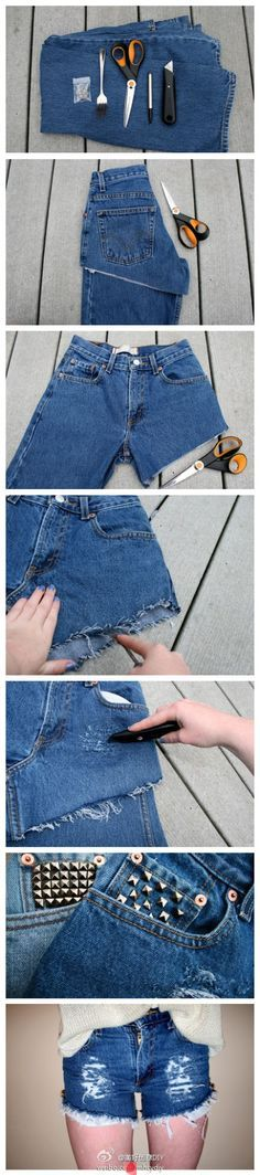 Jeans to shorts DIY. Love the rough denim effect!