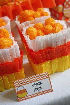 Candy Corn Snack Containers made of crepe paper
