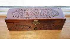 Sewing Box Vintage Poker Work Wooden Box with Sewing