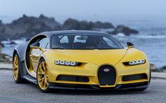 Descargar fondos de pantalla Bugatti Chiron, 2017, amarillo Quirón, Hypercar, único coches, coches deportivos, Bugatti