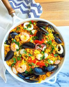 "10 minutes of prep, lots of flavor and a complete healthy meal in one skillet! This simple Seafood Paella is the perfect weeknight meal (and goes great a glass of white wine). ""You don't have to cook fancy or complicated masterpieces – just good food from fresh ingredients."" ― Julia Child Tasty food doesn't have to...Read More »"