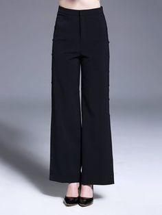 Black Solid Side Split Casual Wide Leg Pants